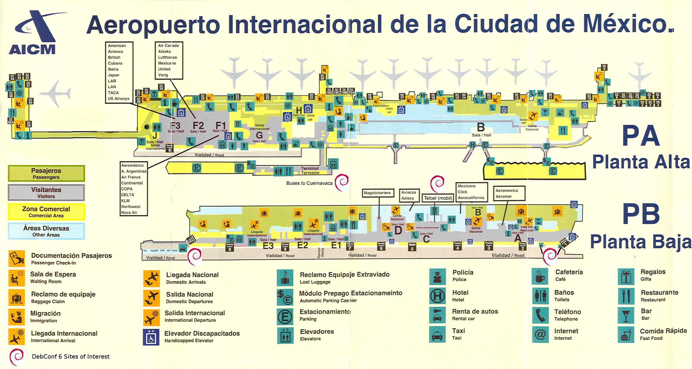 aeroporto di città del messico mappa - aeroporto